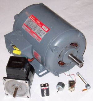 Three phase AC induction motors rated 1 Hp (746 W) and 25 W with small motors from CD player, toy and CD/DVD drive reader head traverse